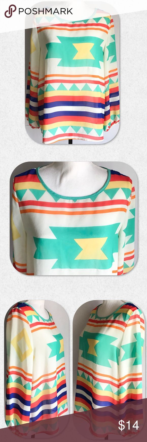 """Moa Aztec Print Long Sleeve Top Gorgeous bright, vivid colors in this Aztec print Long Sleeve Top. Very flowy and light. Elasticized wrists. Size L. Measurements taken laying flat.   B: 20 1/2"""" L: 25"""" MOA USA Tops Blouses"""