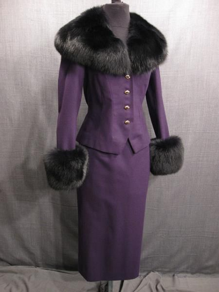 1930s purple wool suit trimmed in black fur.