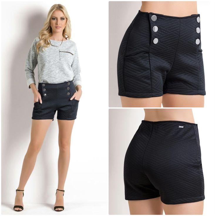 Short cintura alta com botões