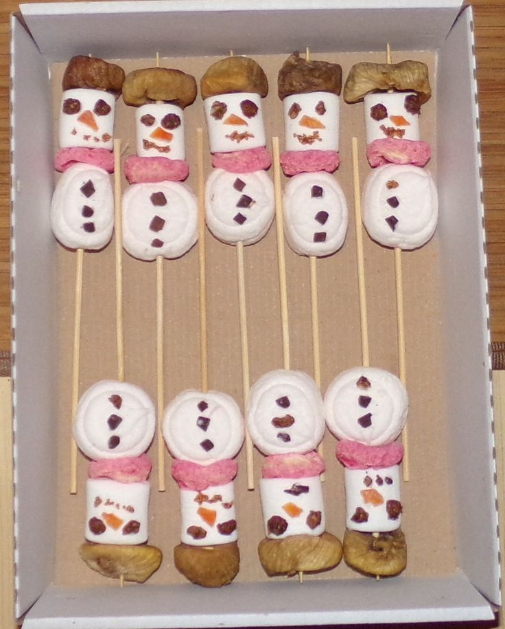 To Hamadryas Baboons at Santa Claus' Day. Marshmallow snowman with fig cap, dried fruit nose.