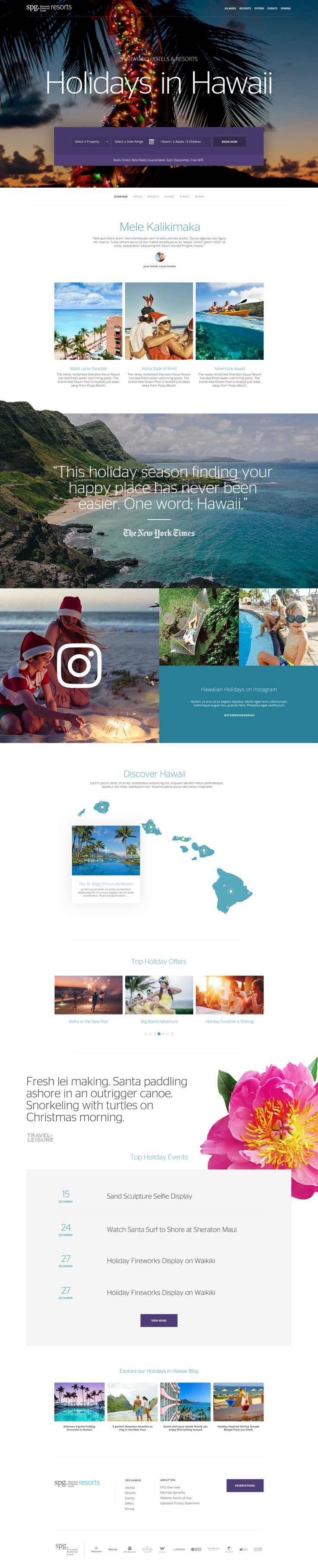SPG Resorts Holidays in Hawaii Travel Experience Landing Page Design by Agency Dominion