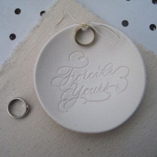 Forever Yours... Ring Bearer Bowl by Paloma's Nest featuring calligraphy by MM Ink.