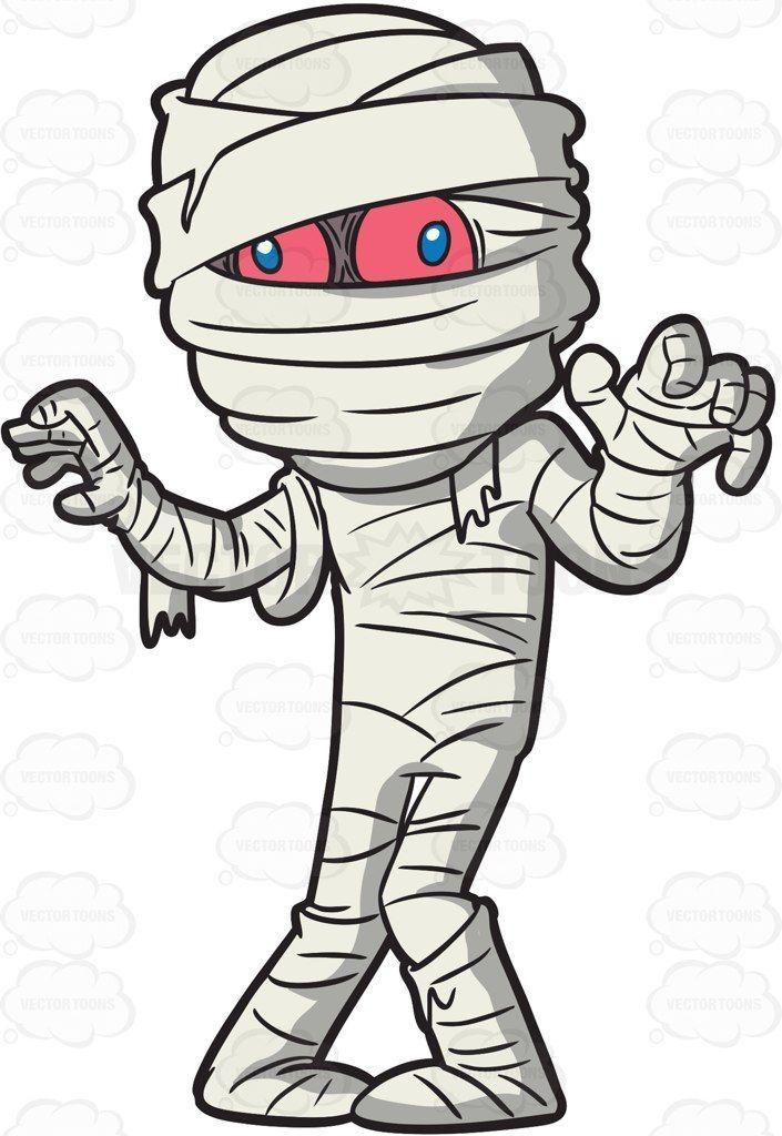 A Mummy Trying To Scare People Cartoon Clipart Vector Vectortoons Stockimage Stockart Art Halloween Cartoons Halloween Drawings Halloween Painting