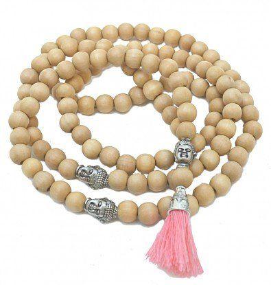 Cara Buddha Halskæde med træperler