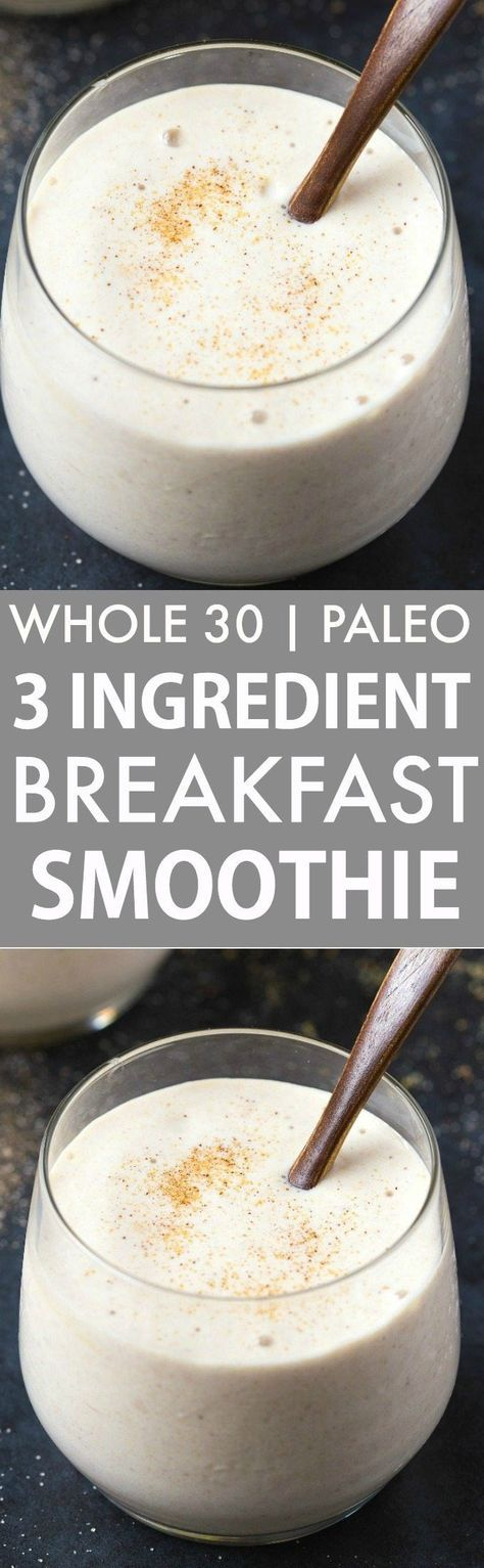 Healthy 3 Ingredient Banana Breakfast Smoothie (Whole 30, Paleo, V, GF)- Whole30 compliant thick and creamy smoothie made with 3 CLEAN ingredients- Filling, satisfying and ready in seconds! {whole 30, paleo, vegan, gluten free, dairy free recipe}- http://thebigmansworld.com