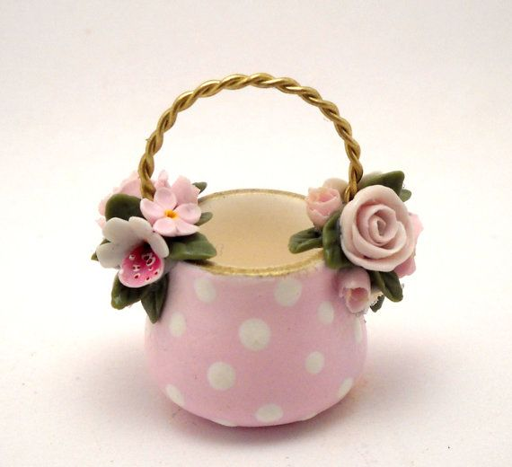 1/12TH scale   romantic floral basket  BY LORY by 64tnt on Etsy, €32.00
