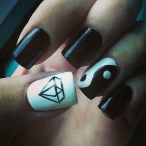 nail designs. Like ying yang design but not the diamond