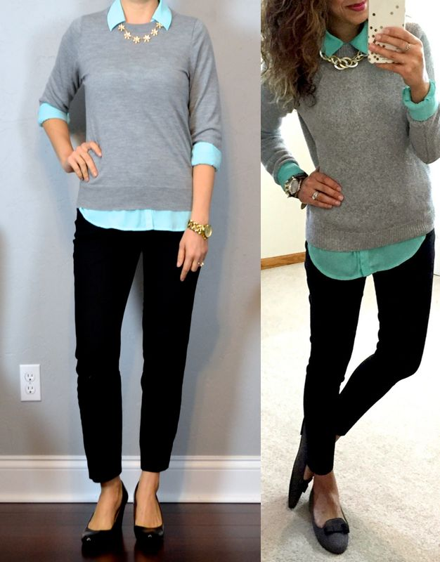 outfit post: grey sweater, turquoise portofino shirt, black ankle pants, black wedges http://outfitposts.com/2016/11/outfit-post-grey-sweater-turquoise-portofino-shirt-black-ankle-pants-black-wedges.html?utm_campaign=coschedule&utm_source=pinterest&utm_medium=Outfit%20Posts&utm_content=outfit%20post%3A%20grey%20sweater%2C%20turquoise%20portofino%20shirt%2C%20black%20ankle%20pants%2C%20black%20wedges