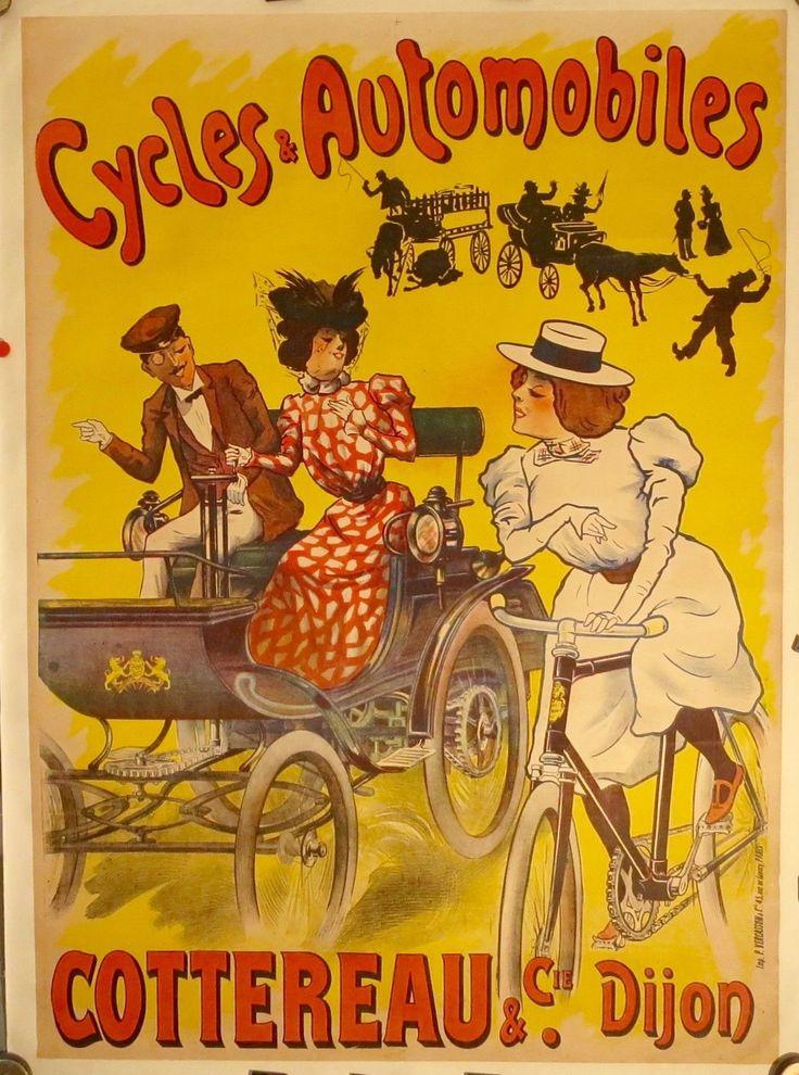 affiche originale automobiles cottereau par misti c 1900 entoil e bon tat pubs anciennes. Black Bedroom Furniture Sets. Home Design Ideas