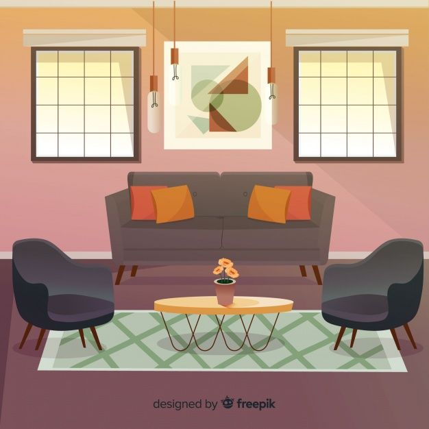Modern Living Room With Flat Design Free Vector In 2020 Interior
