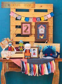 Pinoquio, grilo falante, Gepeto e a Baleia. Festa no Caixote montadinha para decorar uma festa Pinoquio.