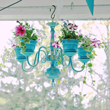 Chandelier up cycled planter. Teal