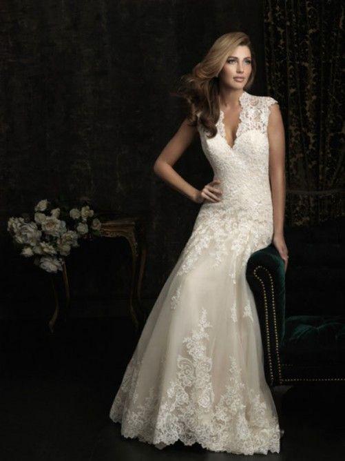 A-line/Stile Principessa Scollo a V Applique Embroidery Tulle Lace Coda a Strascico Corto Dress