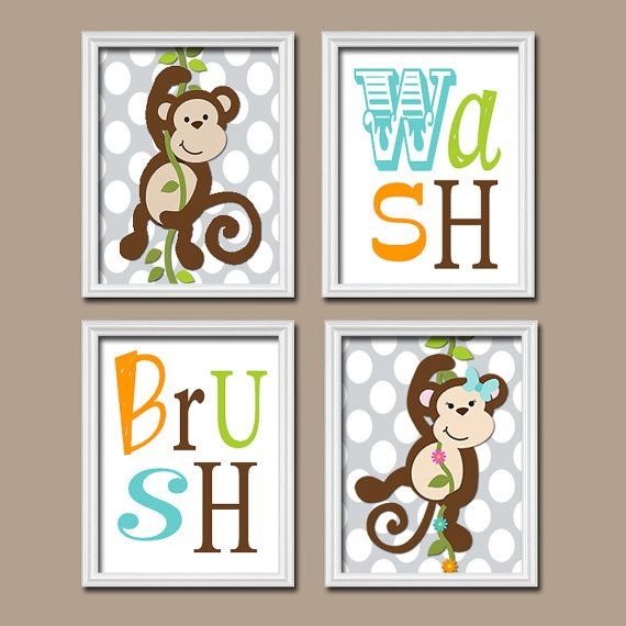 Monkey bathroom wall art monkey bathroom decor girl boy bathroom rules canvas or prints wash brush brother sister bathroom set of 4