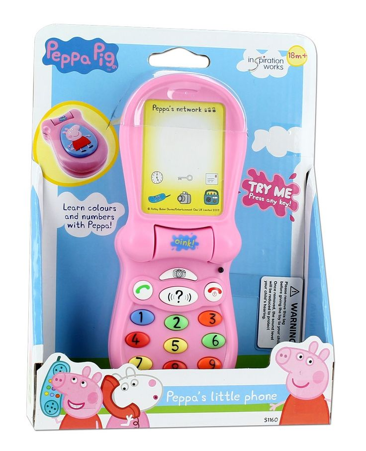 """PEPPA PIG FLIP UP PHONE. Have fun as you learn with this adorable interactive Peppa Pig Toy Phone! You can change the ringtone, take a quiz or """"call"""" Peppa! #planetfun #peppapig #toysfortoddlers #planetfunnz"""