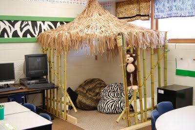 Tiki hut reading area for jungle themed classroom if I ever wanted to switch themes ;-) love zebra with green!