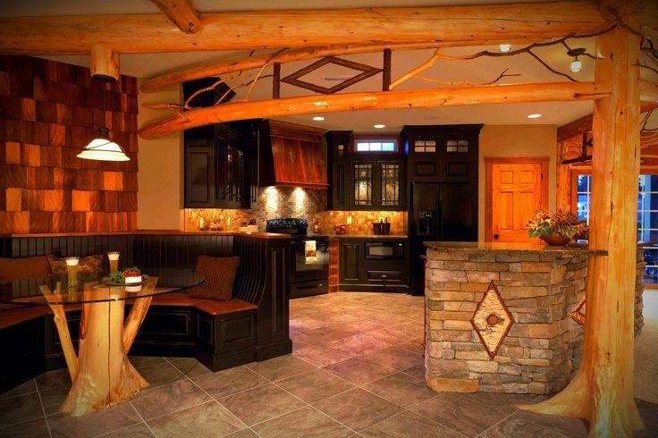 Adirondack Style Basement Kitchen Shows Rustic Wood Black