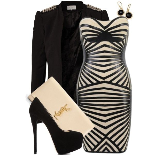 A fashion look from July 2013 featuring VILA blazers Giuseppe Zanotti pumps and Yves Saint ...