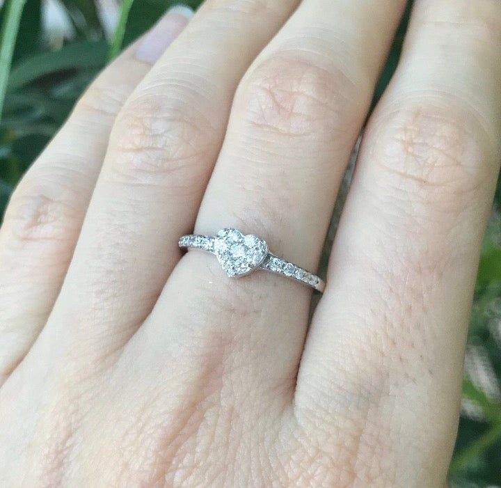 Heart Shaped White Gold Dainty Real Diamond Cluster Promise Ring Small Heart Diamond Ring With 1 10 Ct Diamond Heart Ring Kay Jewelers Rings Diamond Heart