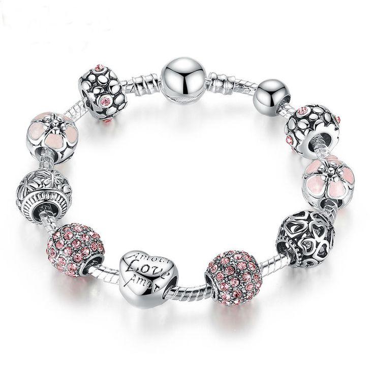 Charm Bracelet with Love & Flower