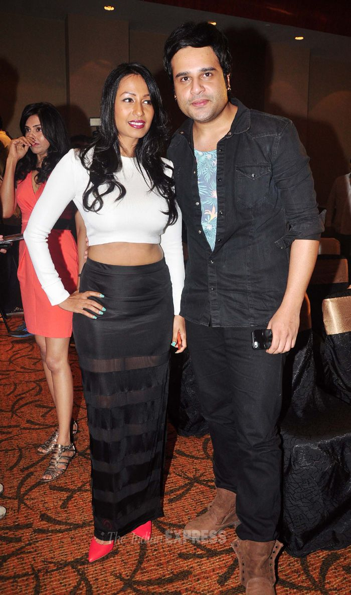 Kashmira Shah chic in a white cropeed top with a sheer paneled maxi skirt as she posed with boyfriend Krushna. #Style #Bollywood #Fashion #Beauty