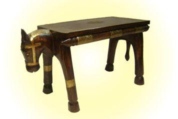 Horse shaped wooden stool   Golden Embossed Metal Work  MRP - Rs. 3750