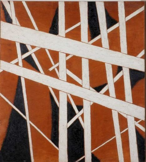 Liubov Popova Space Force Construction 1921 Oil, with wood dust on plywood 710 x 639 mm State Museum of Contemporary Art, Thessaloniki, The George Costakis Collection