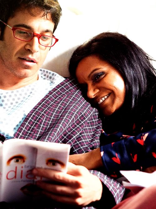 Chris Messina (Danny Castellano) and Mindy Kaling (MIndy Lahiri) on the set of The Mindy Project.