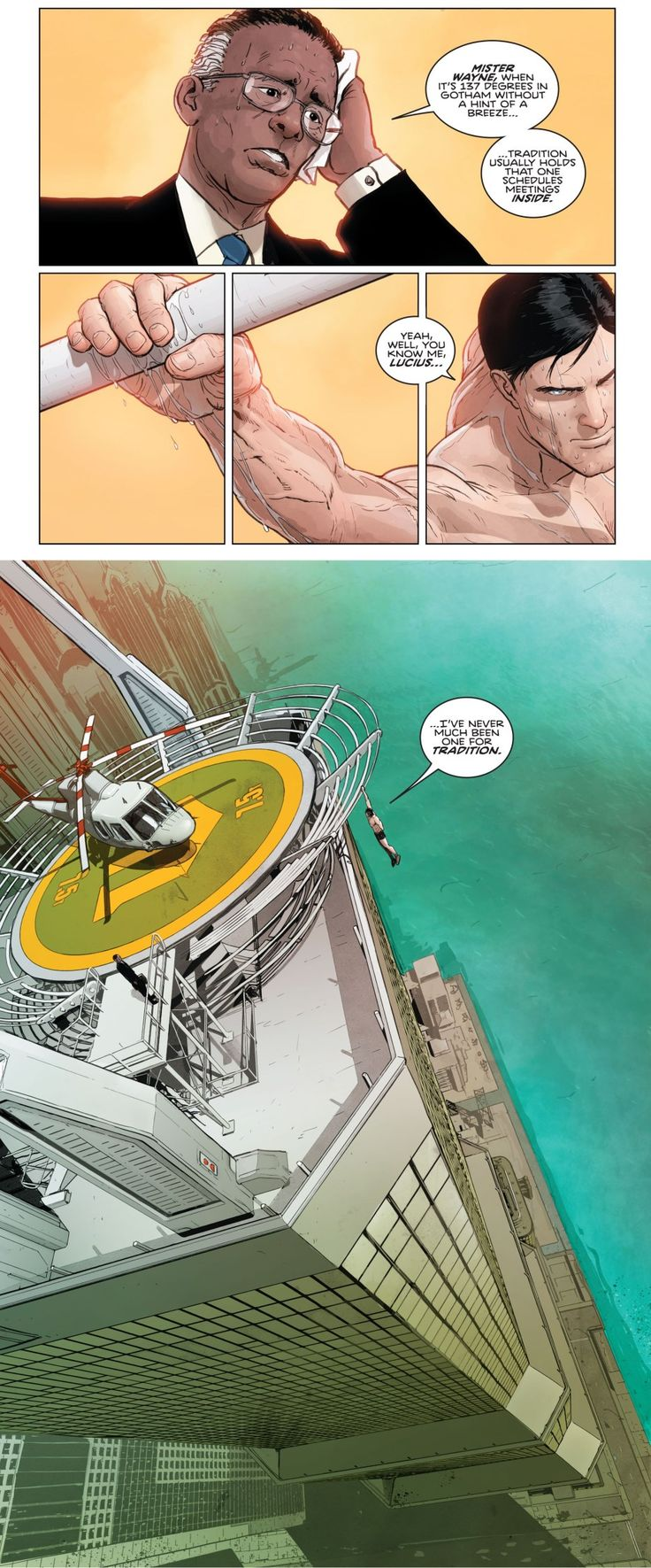 Batman Rebirth 1. Lucius Fox. Bruce Wayne.