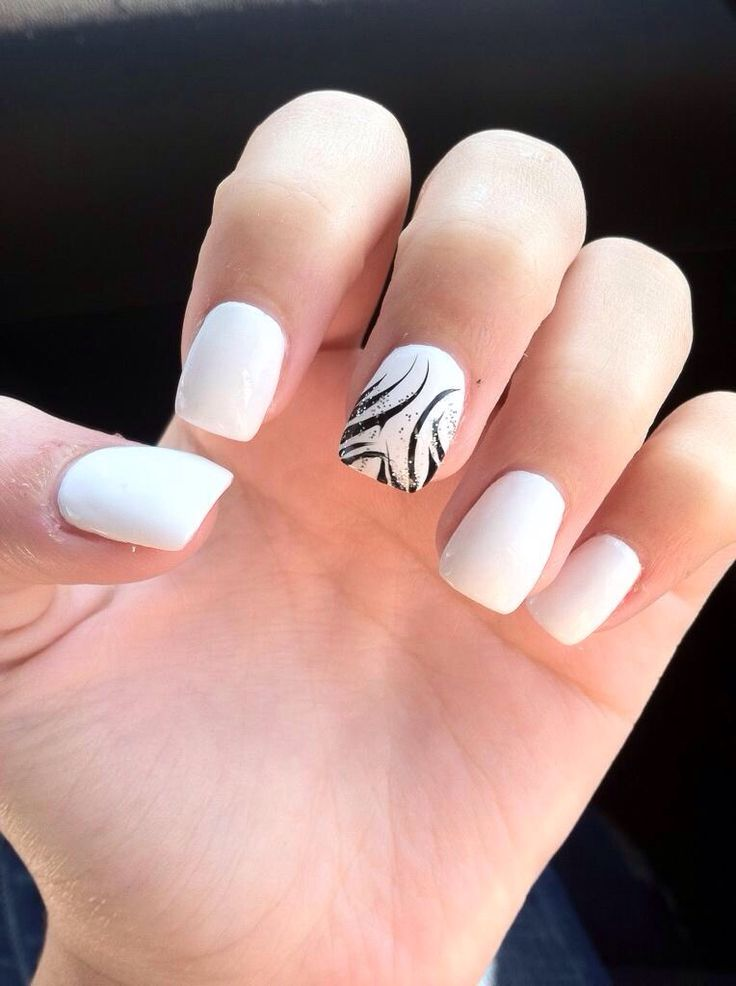 White acrylics- black design- square acrylics- homecoming nails