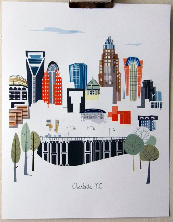 Charlotte NC by albiedesigns on Etsy, $30.00
