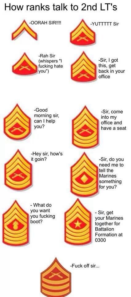 "USMC humor ☆ ""How ranks talk to 2nd LT's."" :-D"