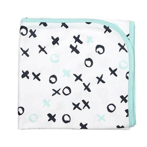 Baby Wrap - O&Xs - Aqua Generously sized baby swaddle/wrap blanket. Grows with baby and can be used as a pram blanket or even a cot sheet. Coordinating with matching hat it's the perfect baby shower gift.  Give hugs and kisses, or play naughts and crosses on our gorgeous grey and aqua print, trimmed with aqua.  Size: 110x110cm