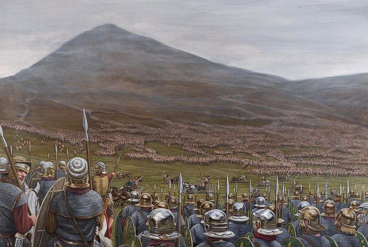 """Mons Graupius AD 83 """"Agricola's army is drawn up in the face of the Caledonian Host, which has taken up position on Mons Graupius"""" Seán Ó'Brógáin"""