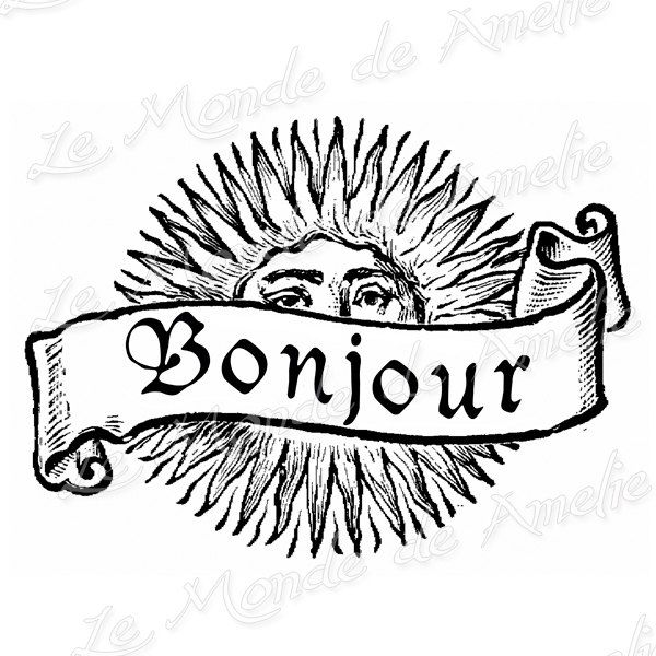 Sun image Bonjour burlap Vintage printable French by JLeeloo2