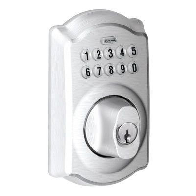 Schlage Keypad Electronic Deadbolt with Camelot Trim Finish: Satin Chrome