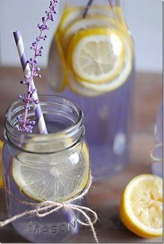 Lavender Lemonade: 2 cups water  1/2 cup sugar  1/4 cup agave nectar (or honey)  3 Tbsp dried lavender  2 cups freshly squeezed lemon juice  4 cups water  1 lemon, sliced (for garnish)