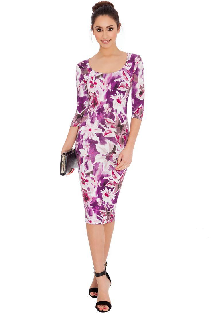 FLORAL PRINT QUARTER SLEEVED MIDI DRESS #floralprint #citygoddess #citygoddesswholesale #wholesale #casualdress #dress #fashion