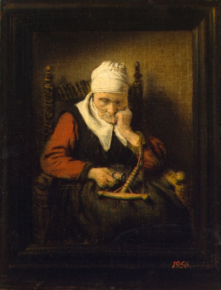 Nicolaes Maes: Oude slapende vrouw met haspel, in geschilderde lijst. ca. 1658. Hermitage, Sint Petersburg. Verwant aan Gerard Dou: Een klossende oude vrouw in een stenen boognis. ca. 1660-1665