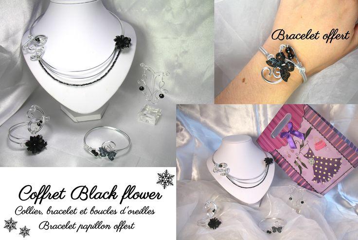 Coffret Black flower noël perles cristal