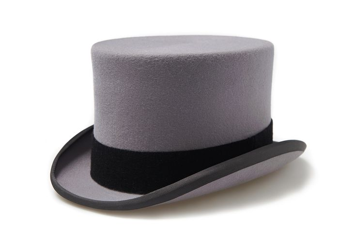 Mens Grey Top Hat In Box By Moss Bros
