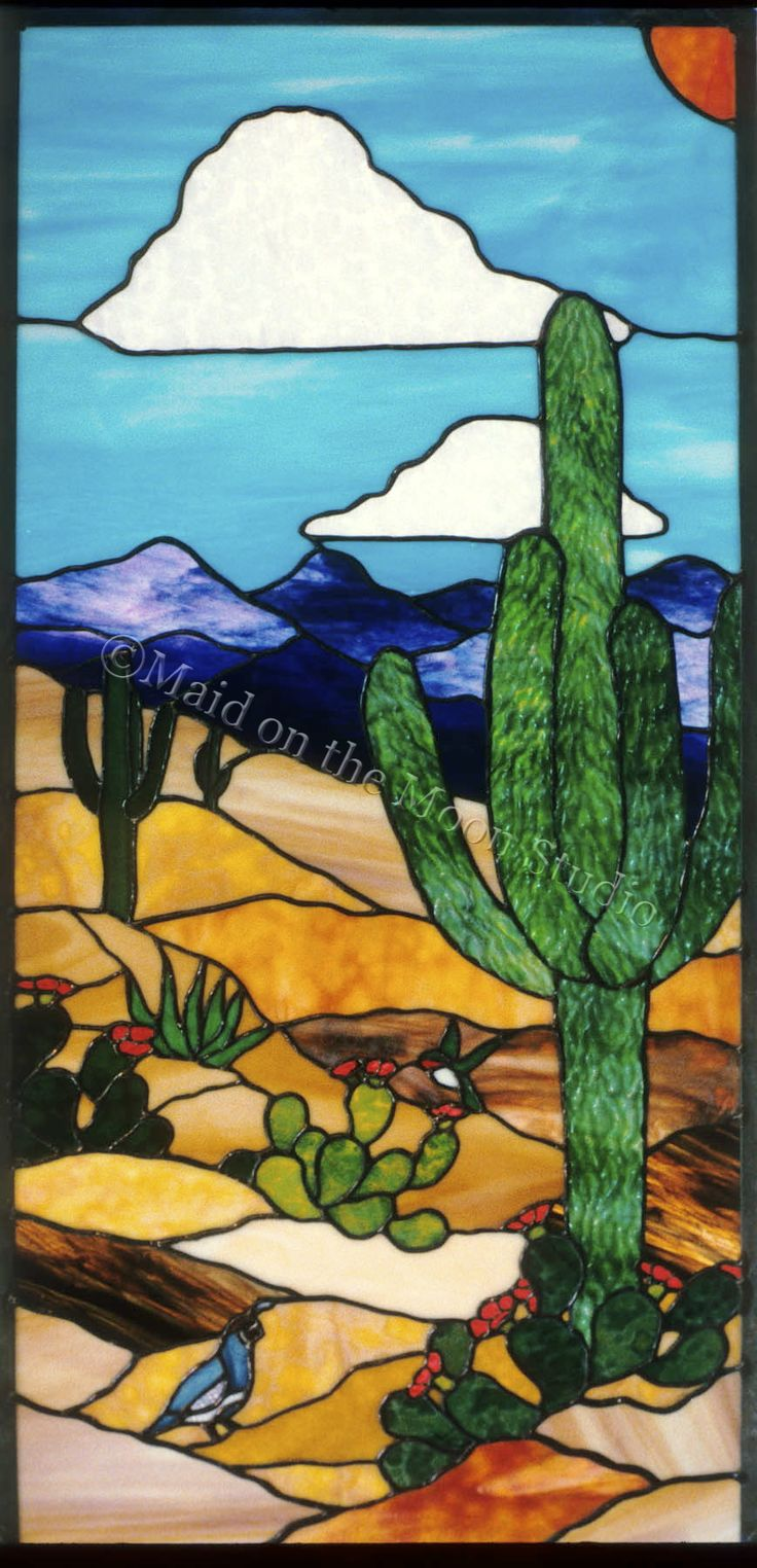 Desert Day Scene stained glass window (adapted from a design by Joyce Hurley) - Maid on the Moon Studio