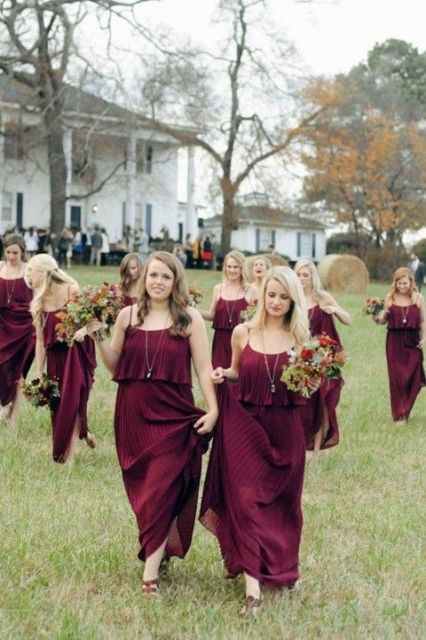 20 Stunning Marsala Bridesmaid Dress Ideas For Fall Weddings: #14. Pleated burgundy maxi bridesmaid dresses