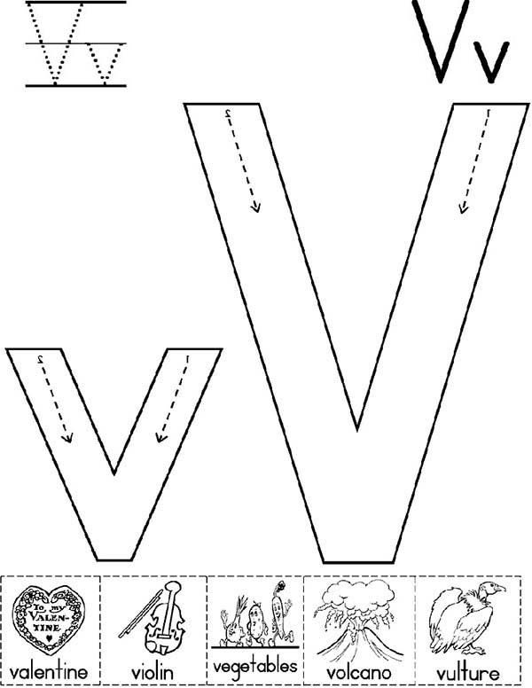 Big Case And Small Case Of Letter V Coloring Page Coloring Pages Memorial Day Coloring Pages Letter V
