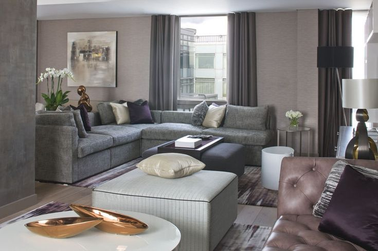 Elegant living room with neutral greys and earthy colors