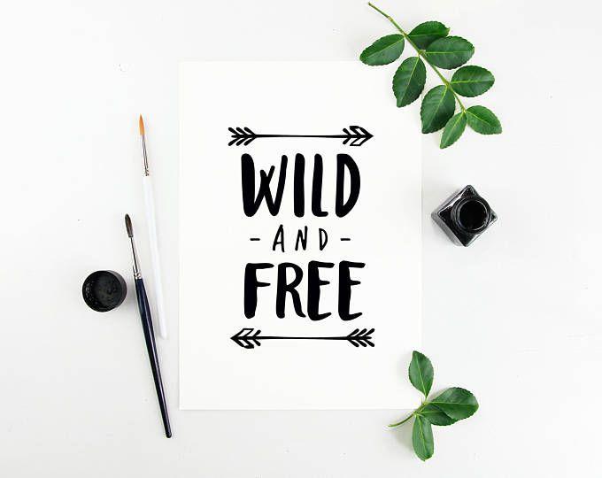 "Nursery Art Print, ""Wild and Free"", Cute Wall Art, Watercolour, Blue, Pink"
