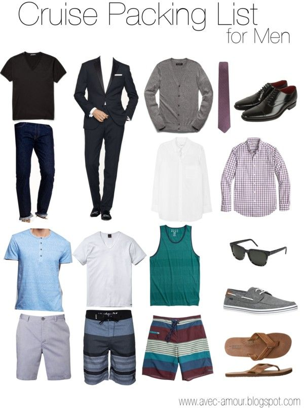 What to Pack for a Cruise: Guide for Men- I'd replace the deck shoes with Chucks, and the flip flops with Birkenstocks, but other than that this list is spot on.