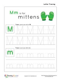 Preschool worksheet for tracing letter M m is for mittens. Tracing and ...