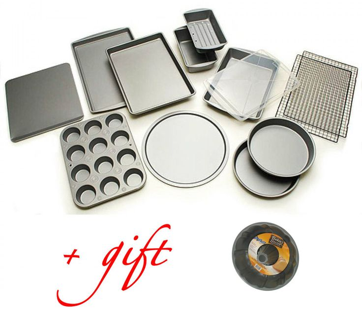 12 Piece Bakeware Set + Fluted Tube Pan Nonstick Cake Baking Cookie Muffin Pizza #BakerEze