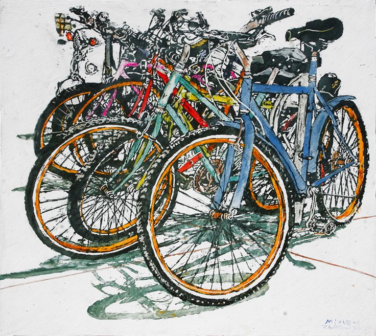 "lido bikes (101)   20"" x 22"" x 1 3/4""  micheal zarowsky / Mixed media (watercolour / acrylic painted directly on gessoed birch panel) Available $950.00"